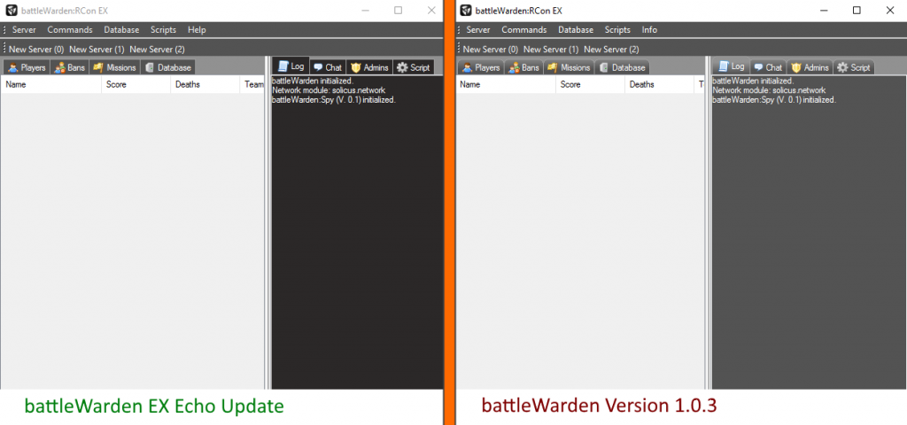 battleWarden EX Echo Update GUI changes