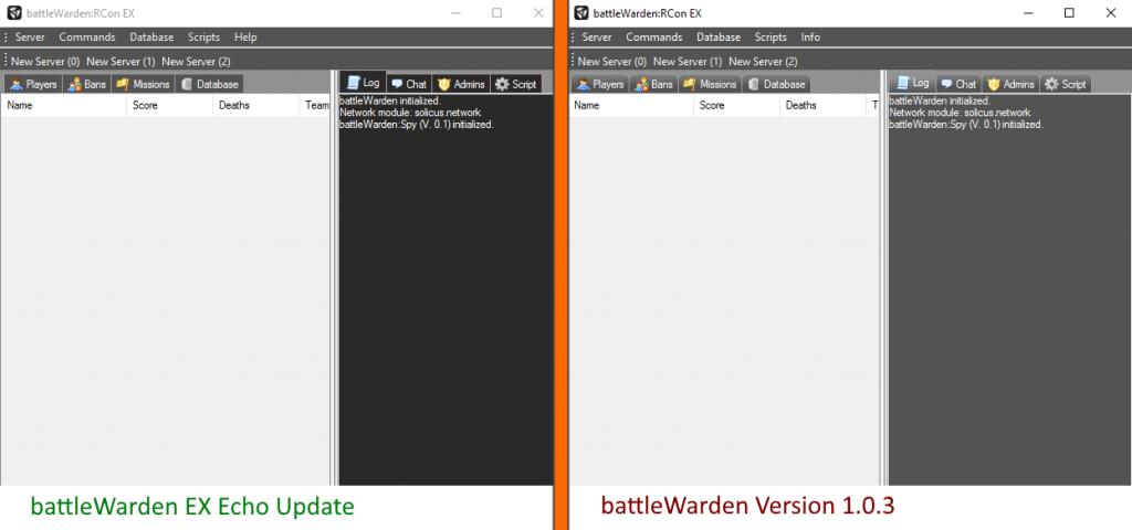 battleWarden EX Echo Update GUI changes